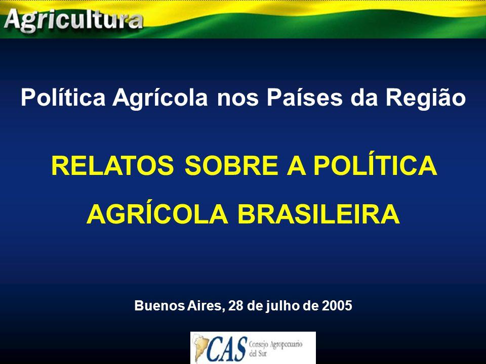 RELATOS SOBRE A POLÍTICA AGRÍCOLA BRASILEIRA