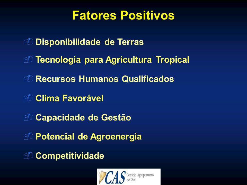Fatores Positivos Disponibilidade de Terras
