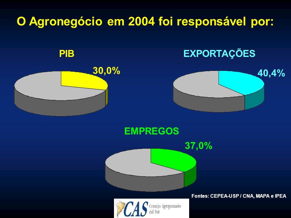 O Agronegócio em 2004 foi responsável por: