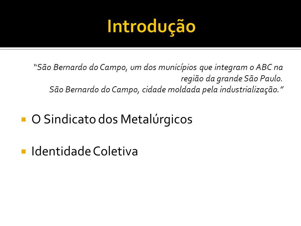 Introdução O Sindicato dos Metalúrgicos Identidade Coletiva