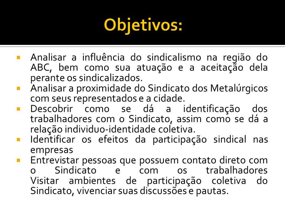 Objetivos: Analisar a influência do sindicalismo na região do ABC, bem como sua atuação e a aceitação dela perante os sindicalizados.