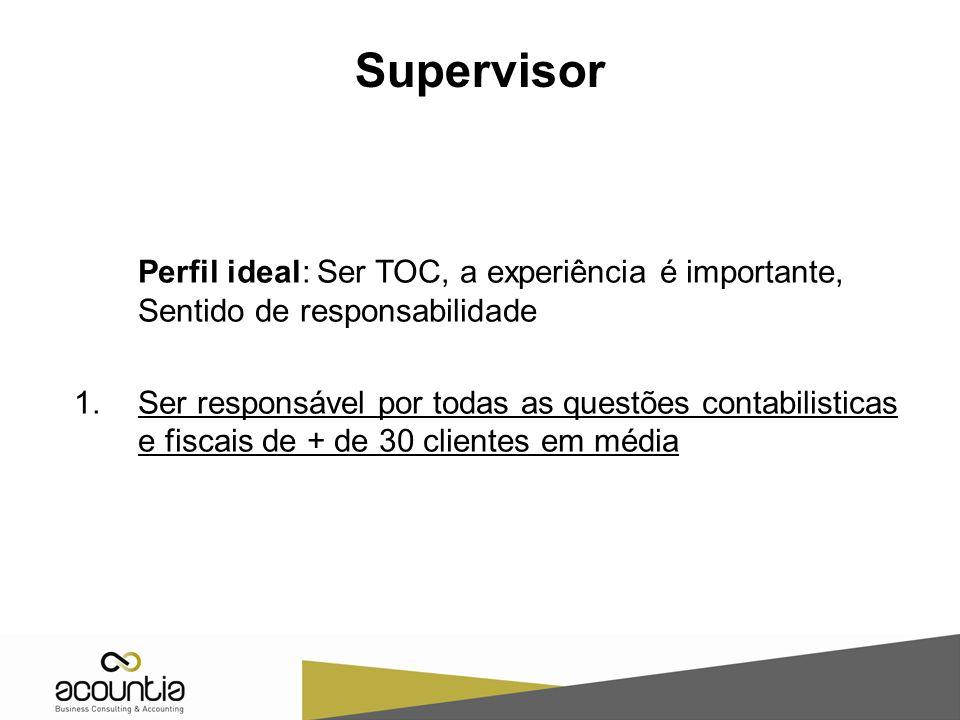 Supervisor Perfil ideal: Ser TOC, a experiência é importante, Sentido de responsabilidade.
