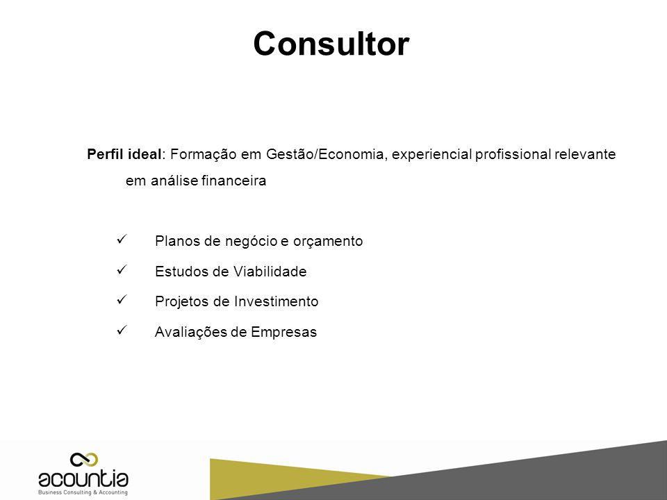 Consultor Perfil ideal: Formação em Gestão/Economia, experiencial profissional relevante em análise financeira.