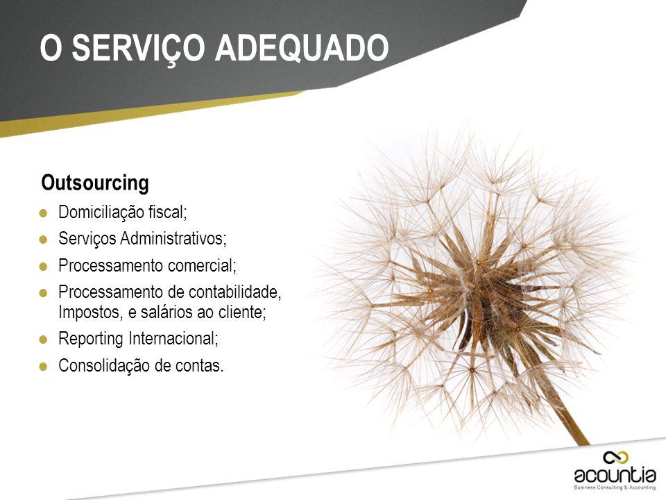 O SERVIÇO ADEQUADO Outsourcing Domiciliação fiscal;