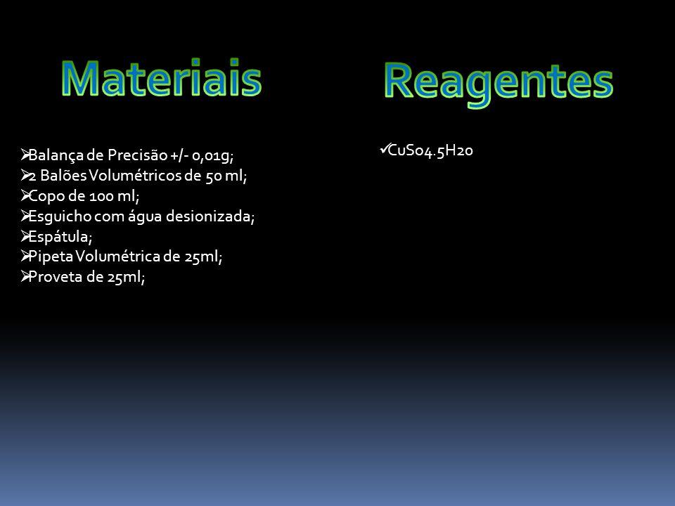 Materiais Reagentes CuSo4.5H20 Balança de Precisão +/- 0,01g;