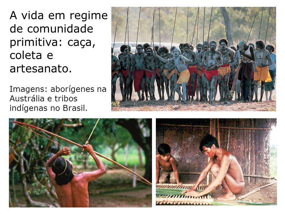 A vida em regime de comunidade primitiva: caça, coleta e artesanato.