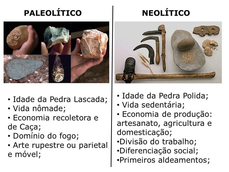 PALEOLÍTICO NEOLÍTICO. Idade da Pedra Polida; Vida sedentária; Economia de produção: artesanato, agricultura e domesticação;