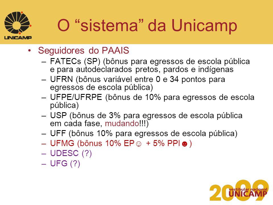 O sistema da Unicamp Seguidores do PAAIS