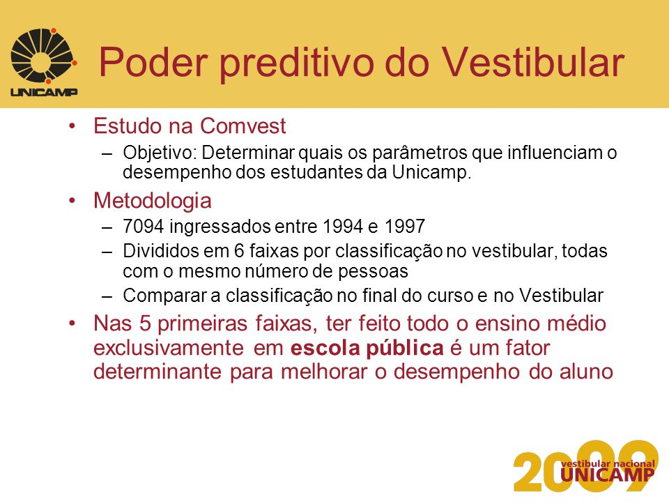 Poder preditivo do Vestibular