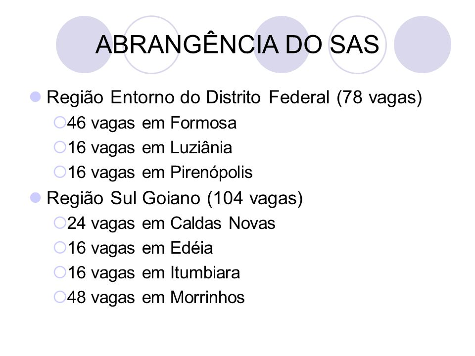 ABRANGÊNCIA DO SAS Região Entorno do Distrito Federal (78 vagas)