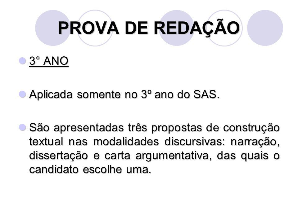 PROVA DE REDAÇÃO 3° ANO Aplicada somente no 3º ano do SAS.