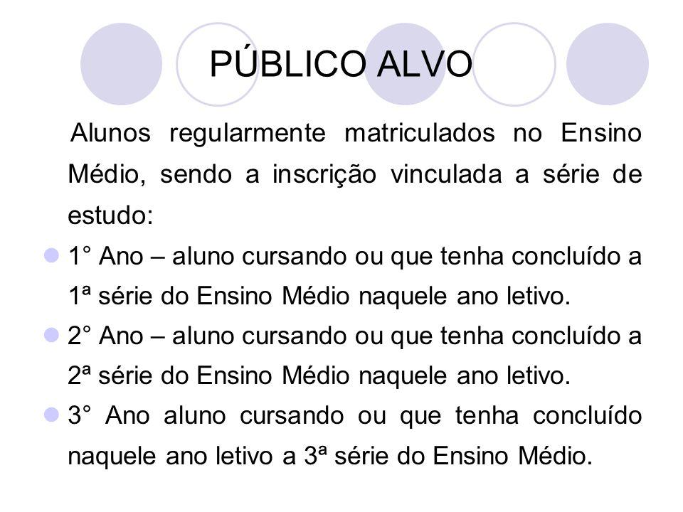 PÚBLICO ALVO Alunos regularmente matriculados no Ensino Médio, sendo a inscrição vinculada a série de estudo: