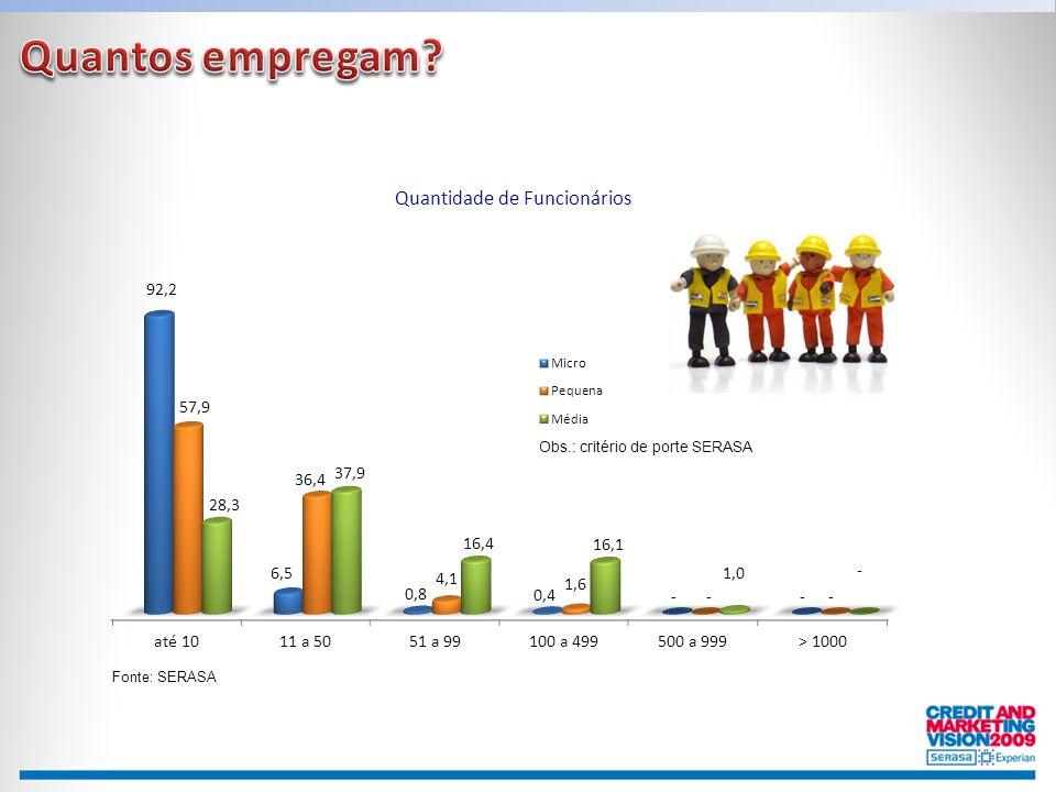 Quantos empregam Obs.: critério de porte SERASA Fonte: SERASA