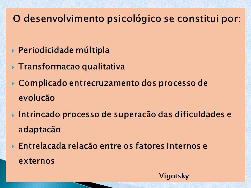 O desenvolvimento psicológico se constitui por: