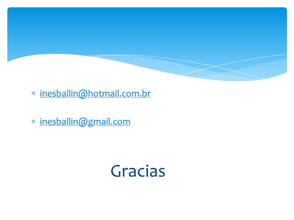 inesballin@hotmail.com.br inesballin@gmail.com Gracias
