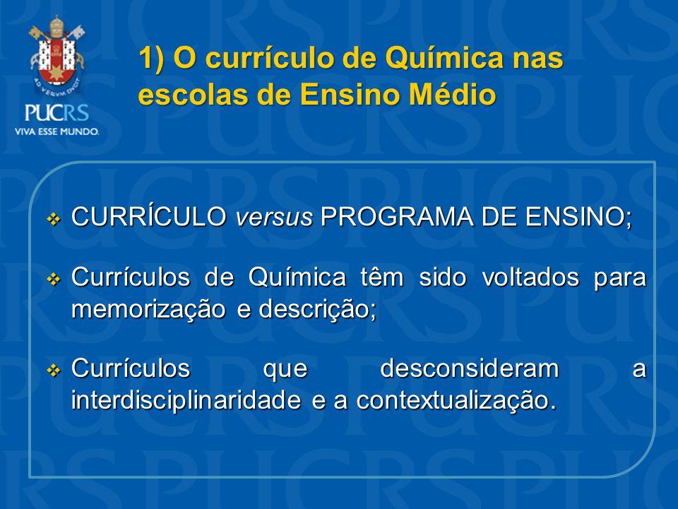 1) O currículo de Química nas escolas de Ensino Médio