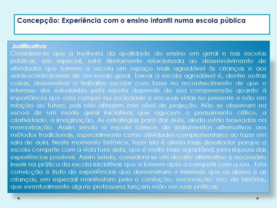 Concepção: Experiência com o ensino infantil numa escola pública