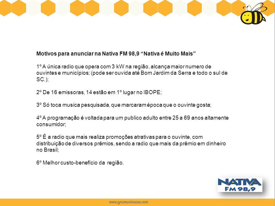 Motivos para anunciar na Nativa FM 98,9 Nativa é Muito Mais