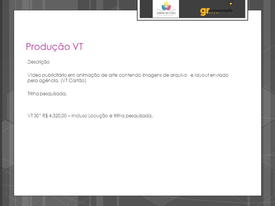 Produção VT Descrição. Vídeo publicitário em animação de arte contendo imagens de arquivo e layout enviado pela agência. (VT Cartão)