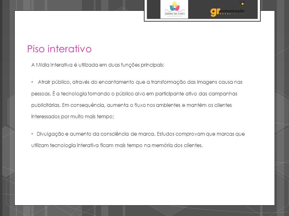 Piso interativo A Mídia Interativa é utilizada em duas funções principais: