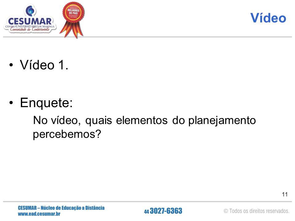 Vídeo Vídeo 1. Enquete: No vídeo, quais elementos do planejamento percebemos
