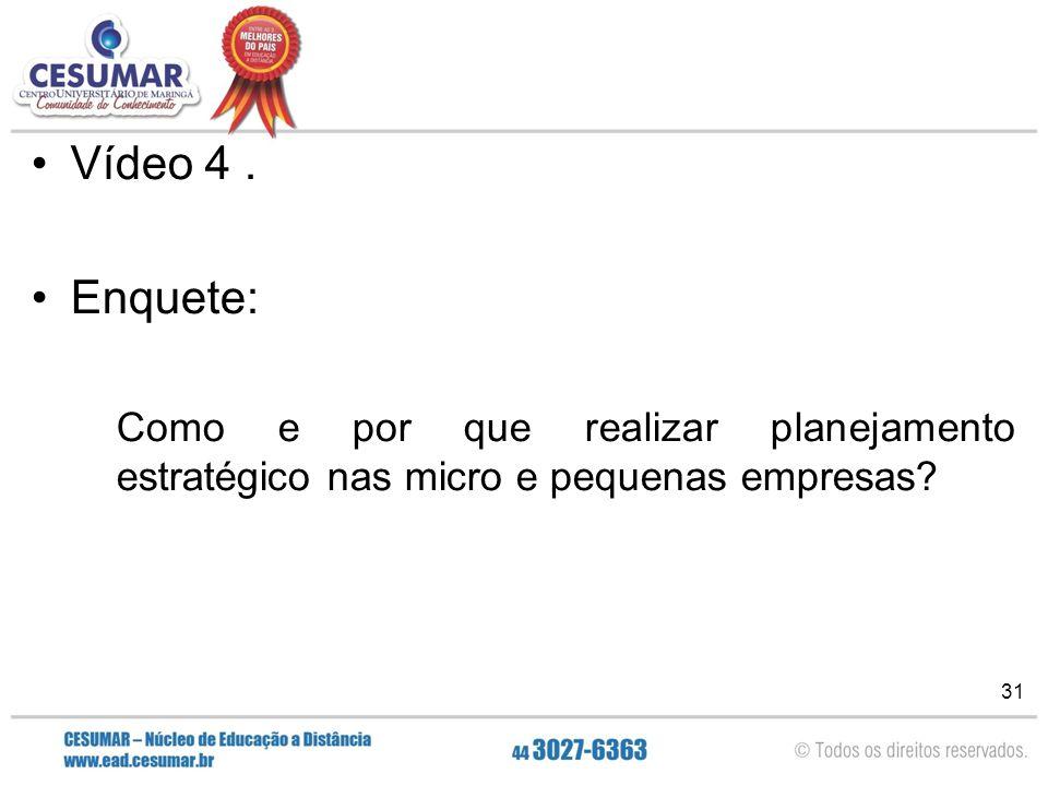 Vídeo 4 . Enquete: Como e por que realizar planejamento estratégico nas micro e pequenas empresas