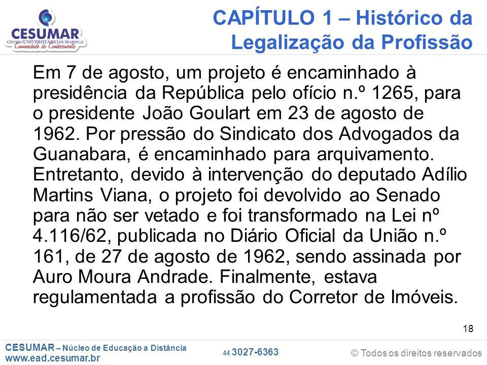 CAPÍTULO 1 – Histórico da Legalização da Profissão