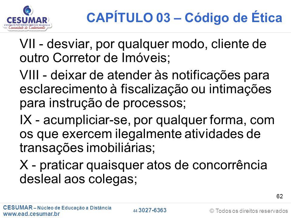 CAPÍTULO 03 – Código de Ética