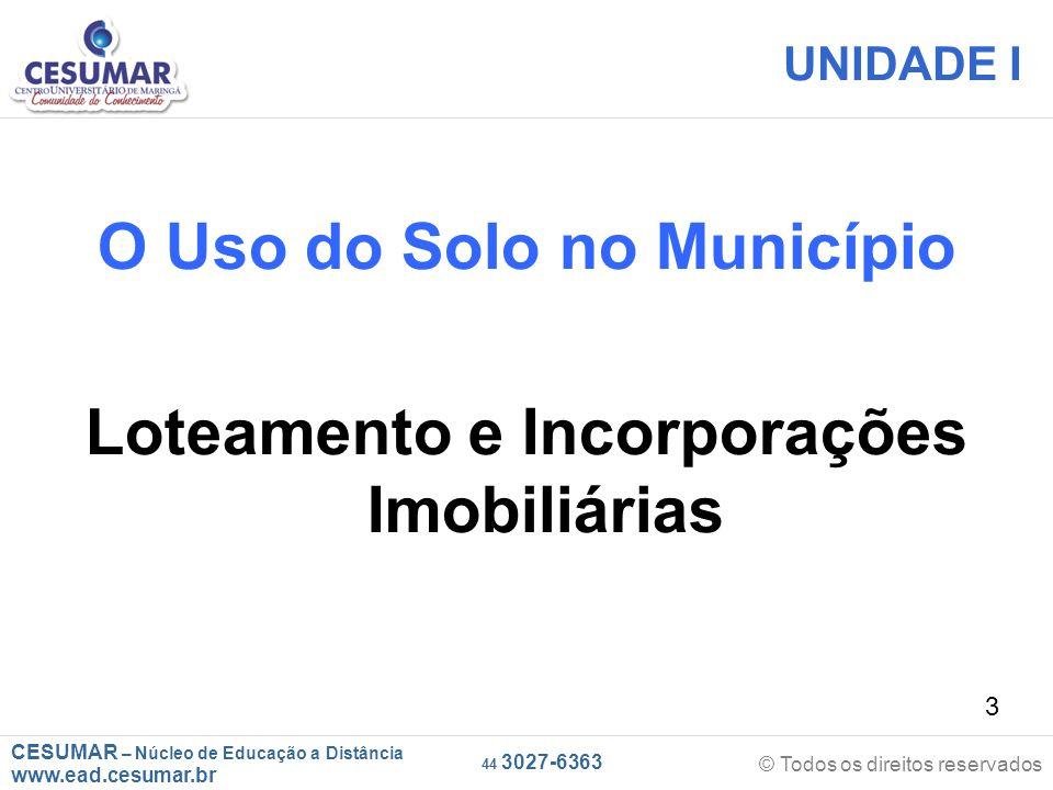O Uso do Solo no Município Loteamento e Incorporações Imobiliárias