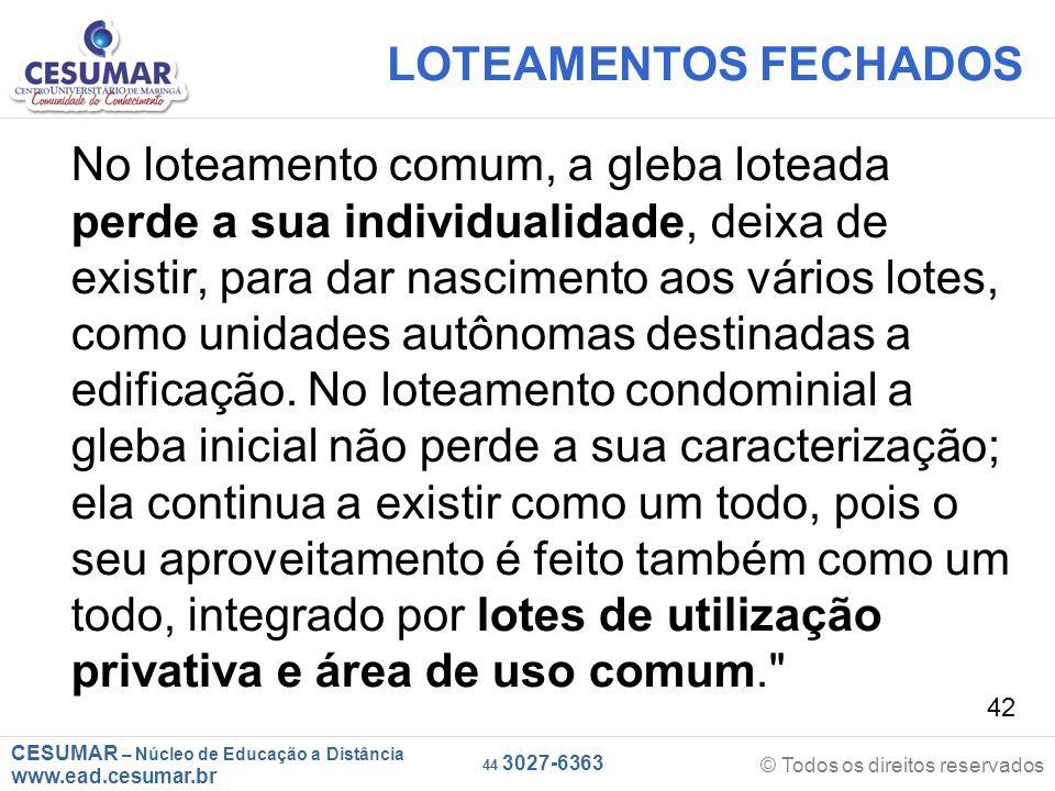 LOTEAMENTOS FECHADOS