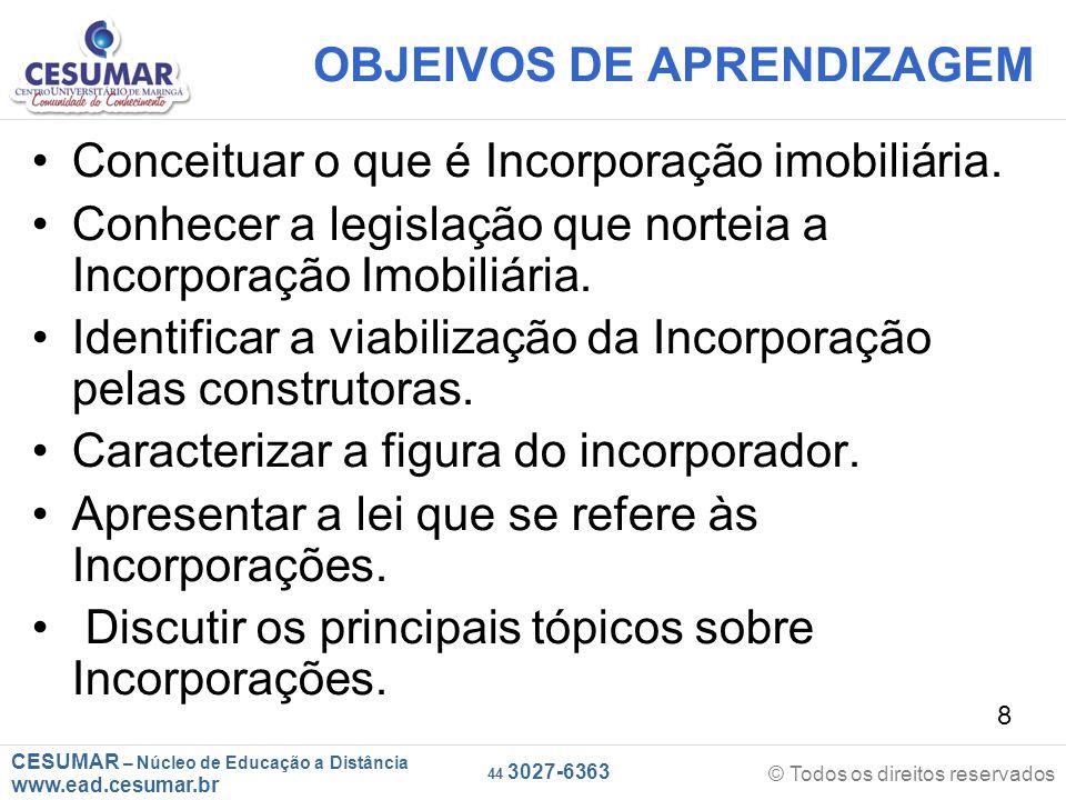 OBJEIVOS DE APRENDIZAGEM