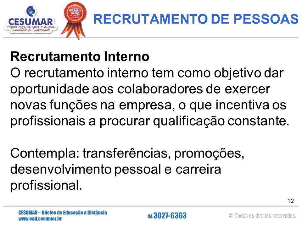 RECRUTAMENTO DE PESSOAS