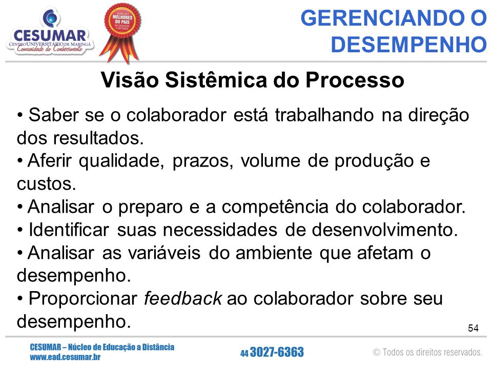 GERENCIANDO O DESEMPENHO