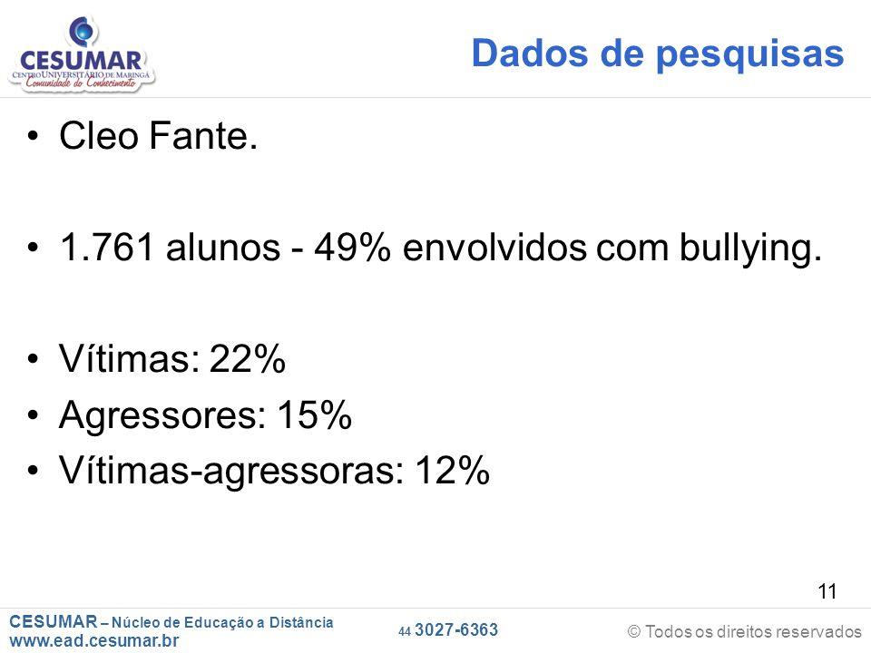 Dados de pesquisas Cleo Fante. 1.761 alunos - 49% envolvidos com bullying. Vítimas: 22% Agressores: 15%