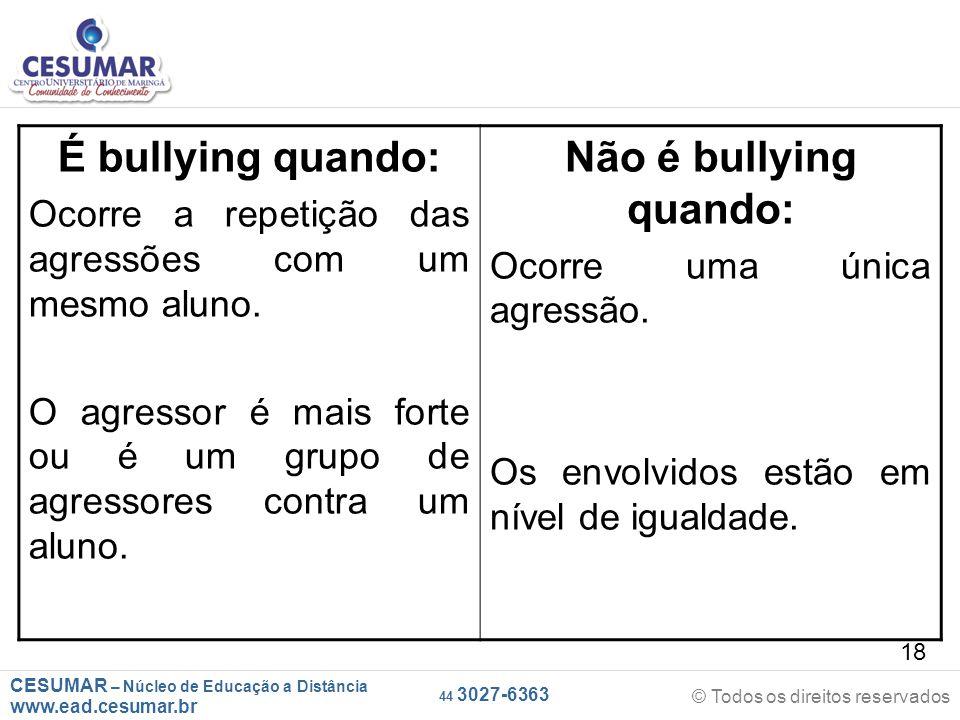 É bullying quando: Não é bullying quando: