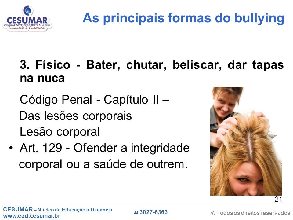 As principais formas do bullying