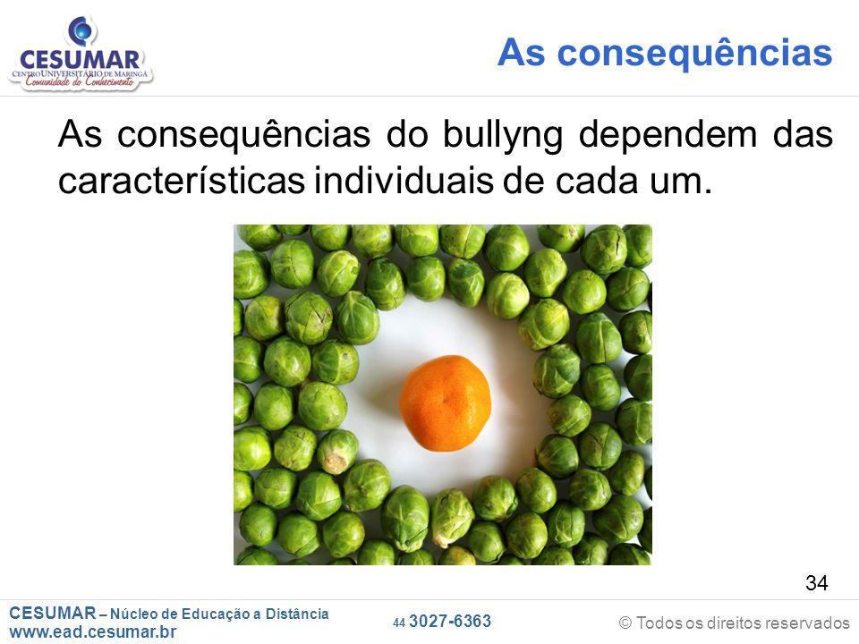 As consequências As consequências do bullyng dependem das características individuais de cada um.