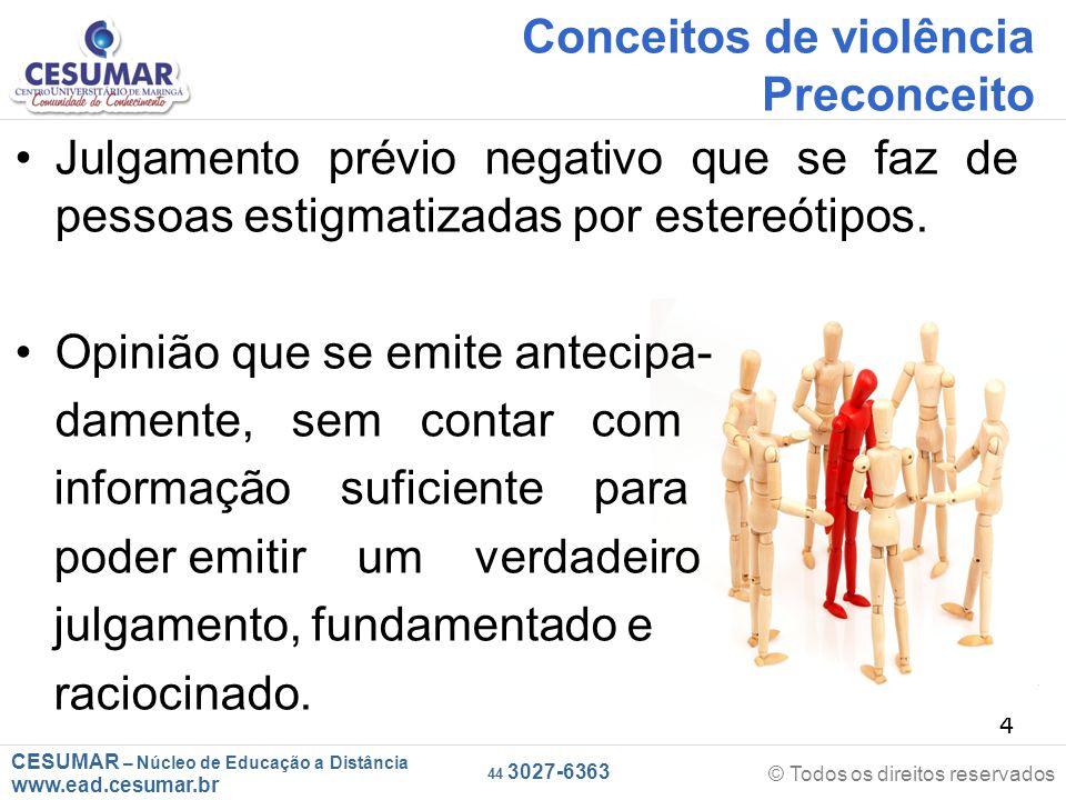 Conceitos de violência Preconceito