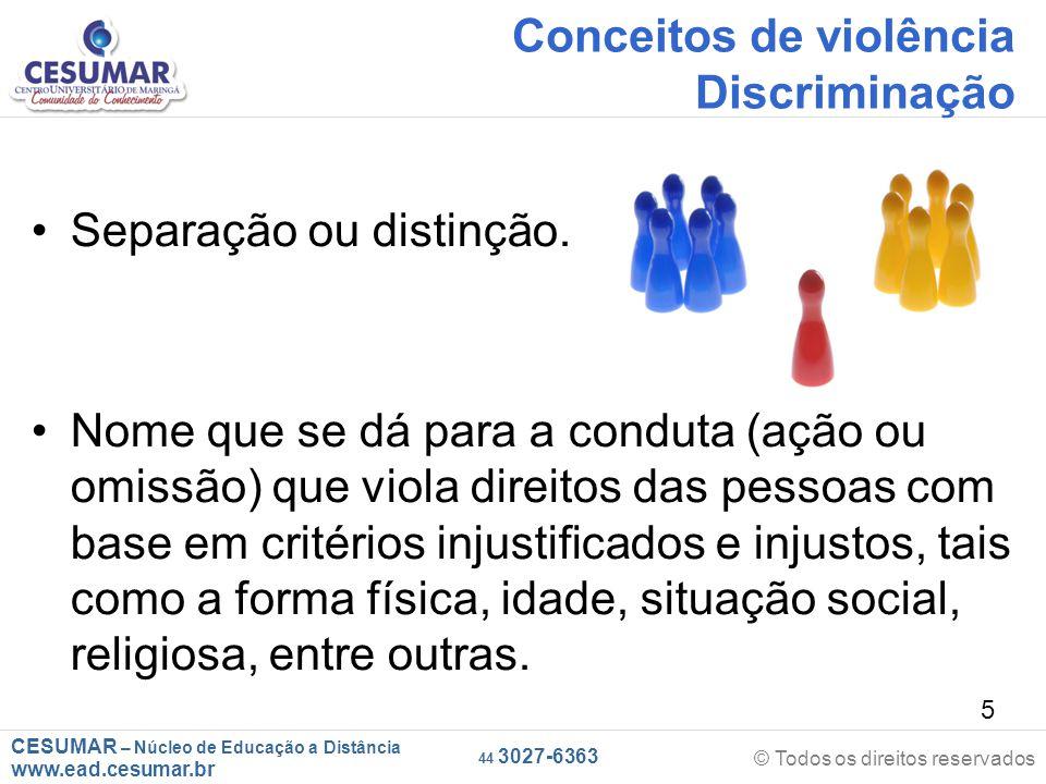 Conceitos de violência Discriminação
