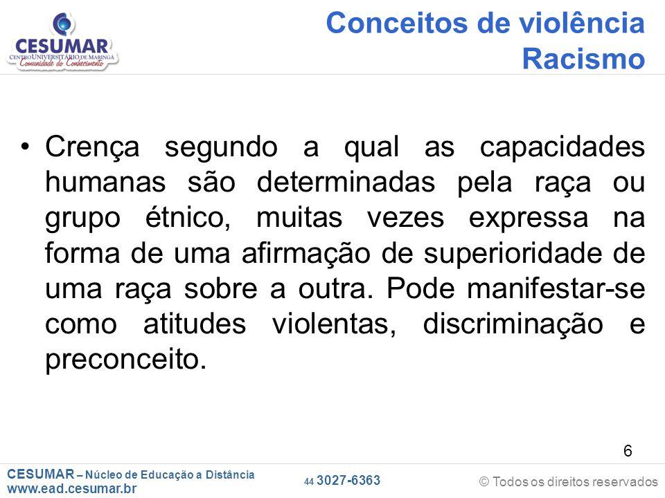 Conceitos de violência Racismo