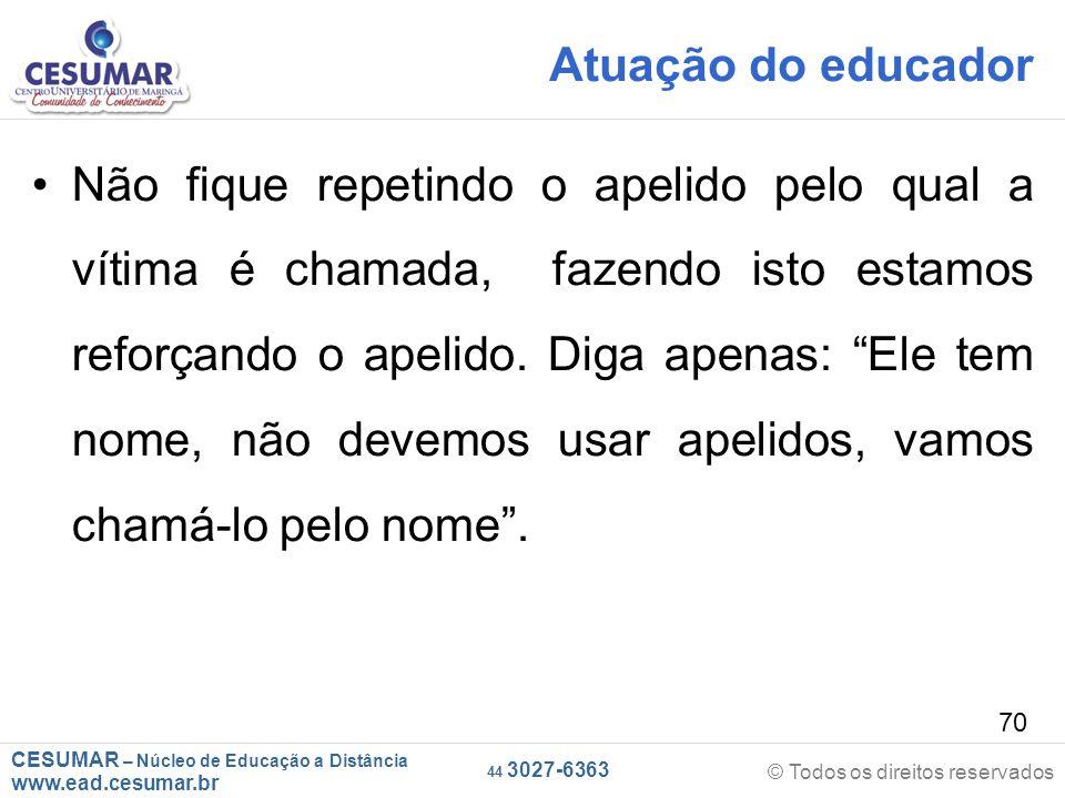 Atuação do educador