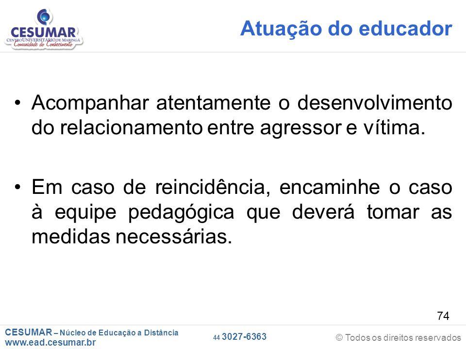 Atuação do educador Acompanhar atentamente o desenvolvimento do relacionamento entre agressor e vítima.