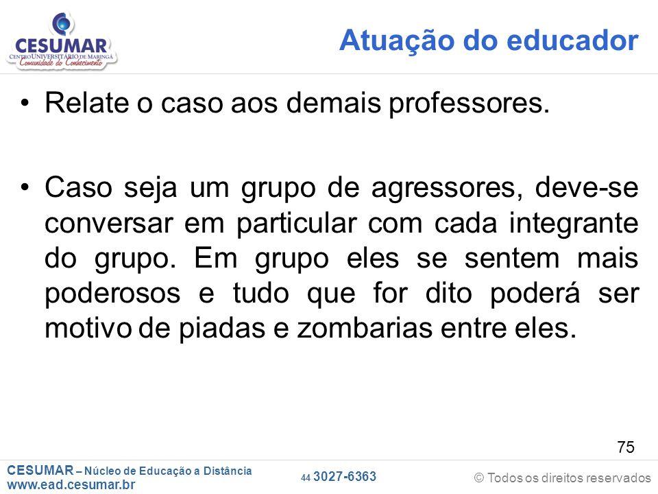 Atuação do educador Relate o caso aos demais professores.