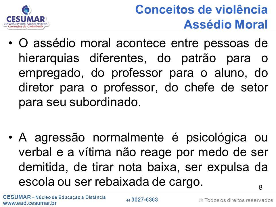 Conceitos de violência Assédio Moral