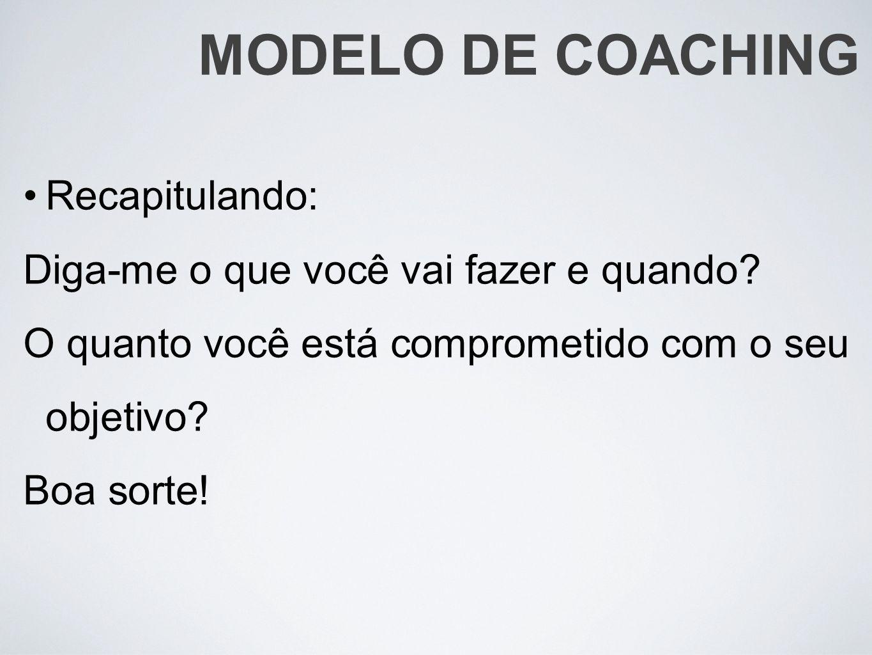 MODELO DE COACHING Recapitulando:
