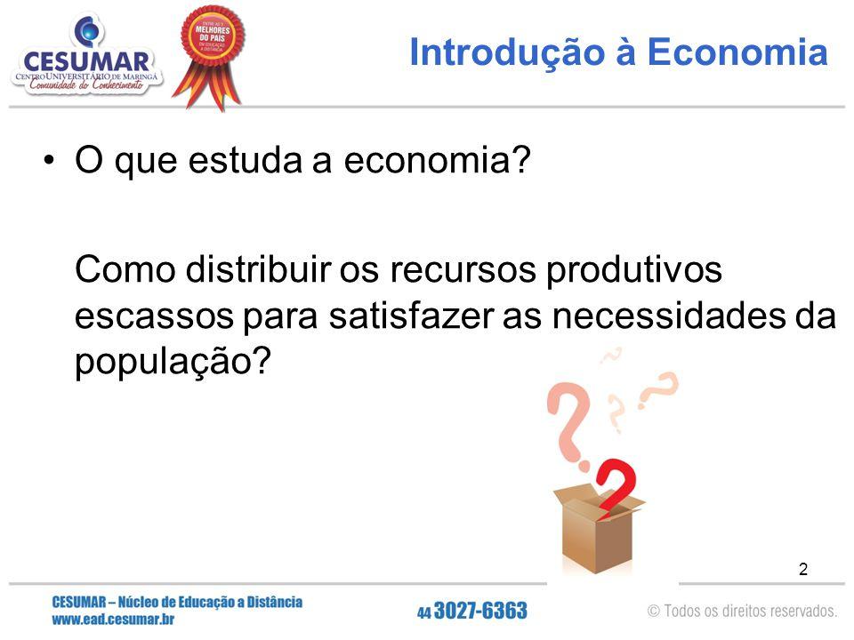 Introdução à Economia O que estuda a economia.