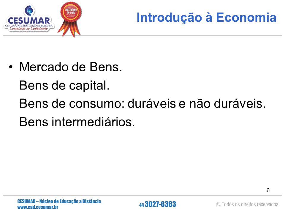 Introdução à Economia Mercado de Bens. Bens de capital. Bens de consumo: duráveis e não duráveis.