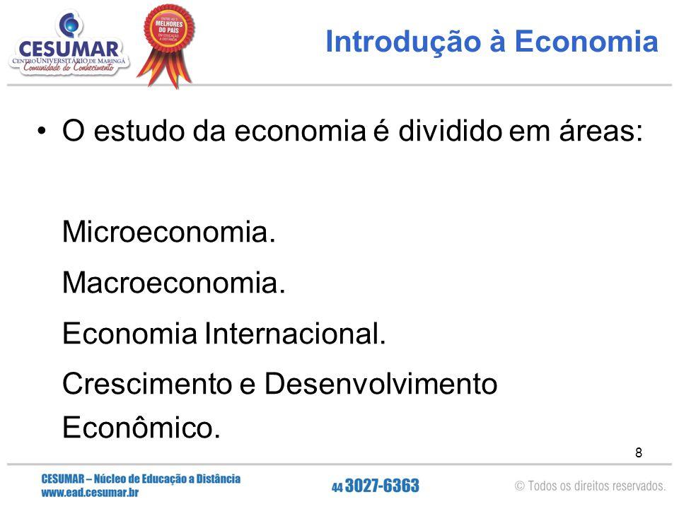 Introdução à Economia O estudo da economia é dividido em áreas: Microeconomia. Macroeconomia. Economia Internacional.