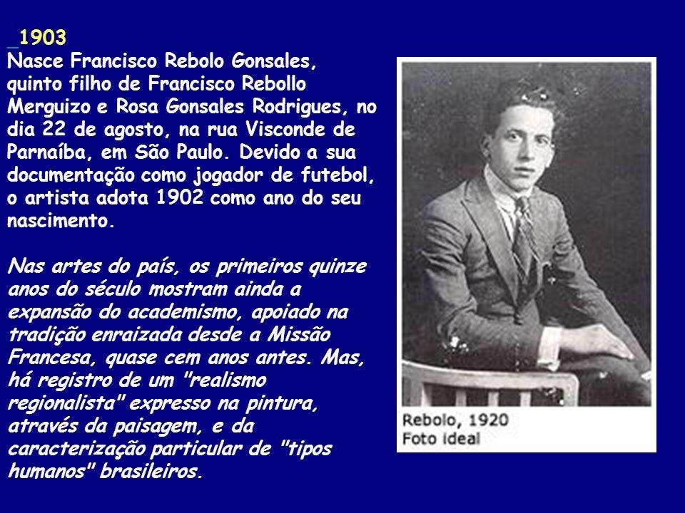 1903 Nasce Francisco Rebolo Gonsales, quinto filho de Francisco Rebollo Merguizo e Rosa Gonsales Rodrigues, no dia 22 de agosto, na rua Visconde de Parnaíba, em São Paulo.