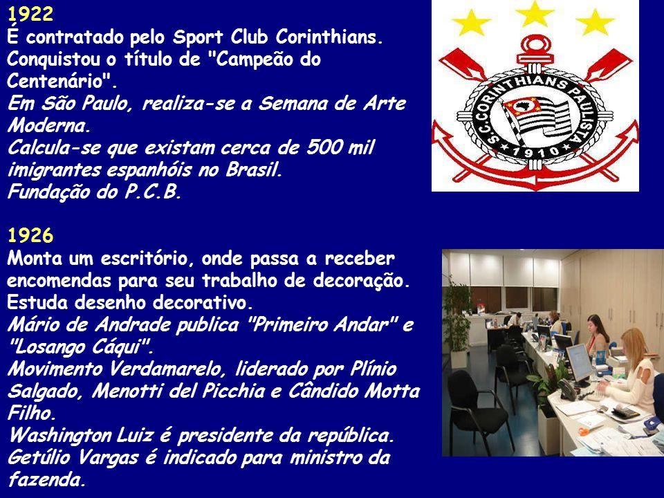 1922 É contratado pelo Sport Club Corinthians